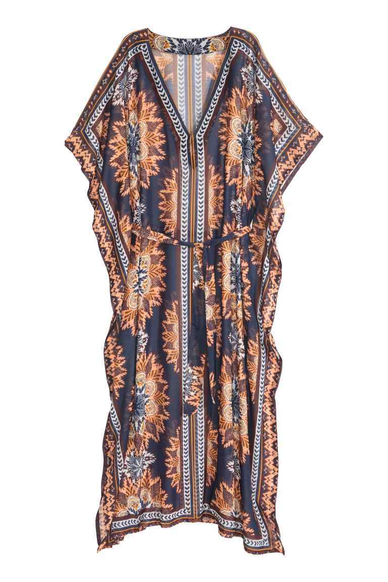 Patterned Kaftan - length: calf length; neckline: v-neck; sleeve style: dolman/batwing; fit: loose; style: kaftan; waist detail: belted waist/tie at waist/drawstring; predominant colour: navy; secondary colour: coral; fibres: polyester/polyamide - 100%; sleeve length: short sleeve; occasions: holiday; pattern type: fabric; pattern: florals; texture group: other - light to midweight; multicoloured: multicoloured; season: s/s 2016; wardrobe: holiday
