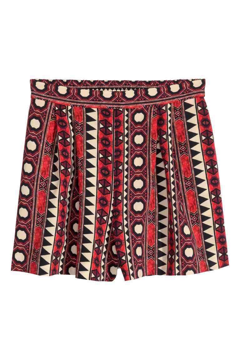Wide Shorts - waist: mid/regular rise; secondary colour: ivory/cream; occasions: casual, creative work; fibres: viscose/rayon - 100%; pattern type: fabric; pattern: patterned/print; texture group: other - light to midweight; predominant colour: raspberry; pattern size: standard (bottom); season: s/s 2016; style: shorts; length: short shorts; fit: baggy; wardrobe: highlight