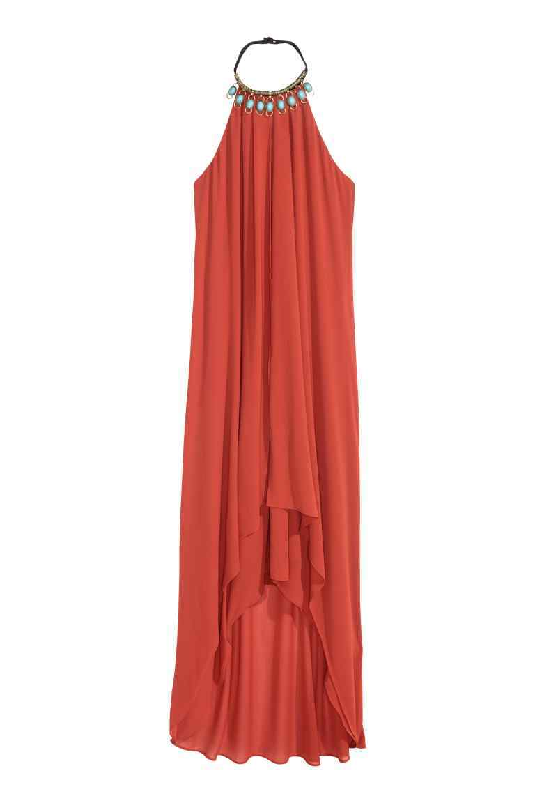 Halterneck Maxi Dress - length: calf length; pattern: plain; sleeve style: sleeveless; predominant colour: bright orange; occasions: evening, holiday; fit: body skimming; style: asymmetric (hem); fibres: polyester/polyamide - 100%; sleeve length: sleeveless; texture group: sheer fabrics/chiffon/organza etc.; pattern type: fabric; season: s/s 2016; neckline: high halter neck; wardrobe: highlight