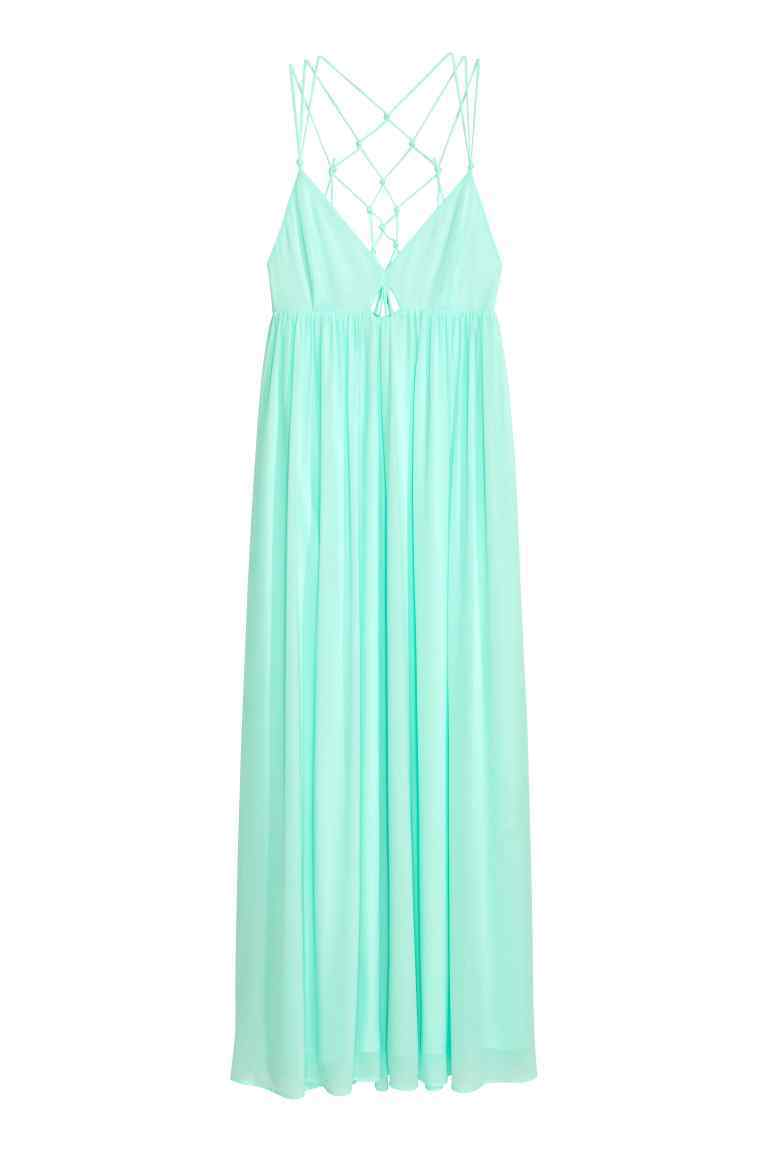 Long Chiffon Dress - neckline: low v-neck; pattern: plain; sleeve style: sleeveless; style: maxi dress; predominant colour: pistachio; occasions: evening; length: floor length; fit: body skimming; fibres: polyester/polyamide - 100%; sleeve length: sleeveless; texture group: sheer fabrics/chiffon/organza etc.; pattern type: fabric; season: s/s 2016