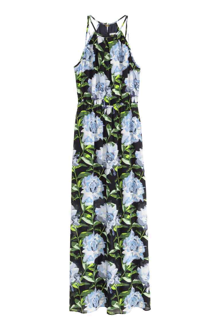 Sleeveless Maxi Dress - sleeve style: sleeveless; style: maxi dress; length: ankle length; waist detail: belted waist/tie at waist/drawstring; secondary colour: pale blue; predominant colour: black; occasions: evening; fit: body skimming; fibres: polyester/polyamide - 100%; neckline: crew; sleeve length: sleeveless; pattern type: fabric; pattern: florals; texture group: other - light to midweight; multicoloured: multicoloured; season: s/s 2016; wardrobe: event