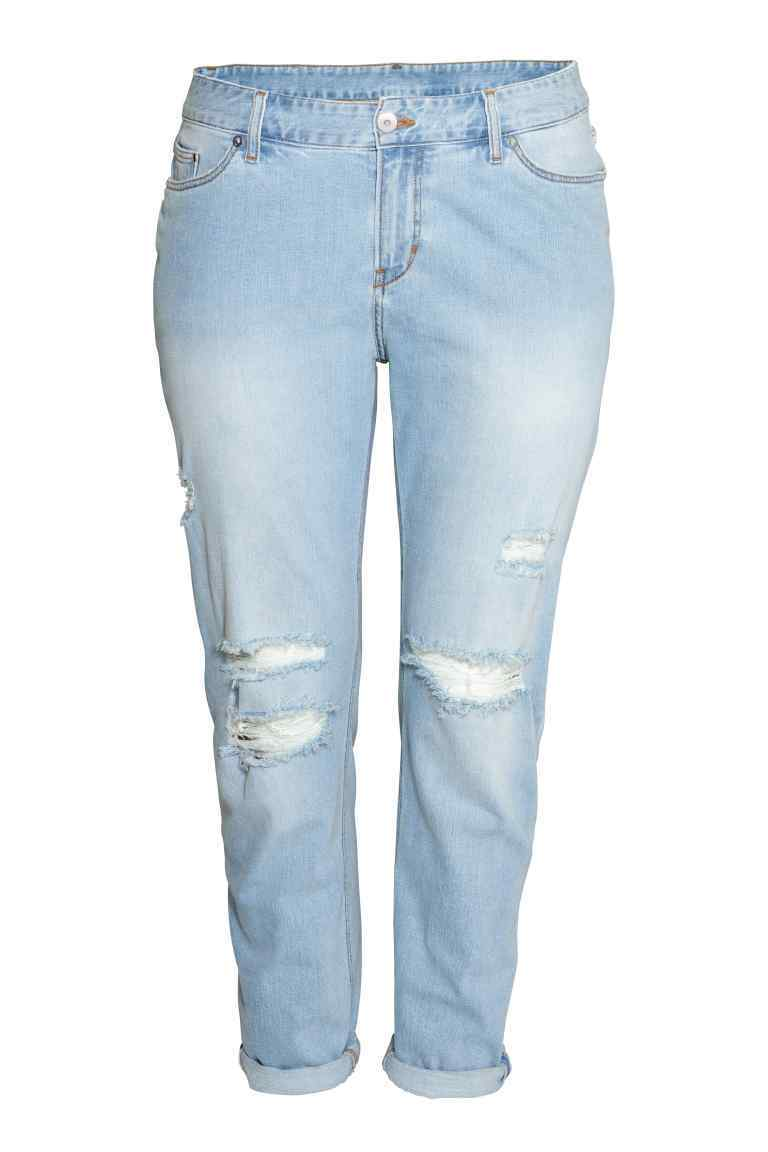 + Boyfriend Low Jeans - style: boyfriend; length: standard; pattern: plain; waist: low rise; pocket detail: traditional 5 pocket; predominant colour: pale blue; occasions: casual; fibres: cotton - 100%; texture group: denim; pattern type: fabric; jeans detail: rips; season: s/s 2016; wardrobe: basic