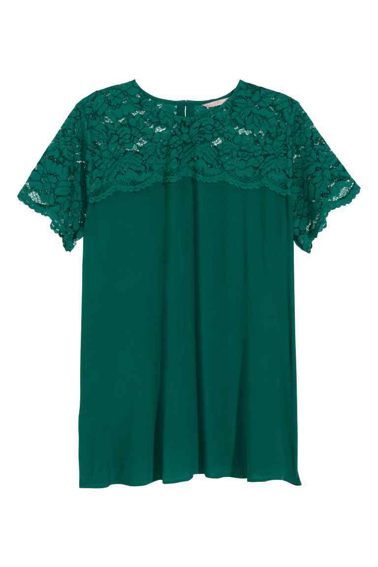Short Sleeved Lace Blouse - pattern: plain; bust detail: sheer at bust; predominant colour: dark green; occasions: casual; length: standard; style: top; fibres: viscose/rayon - 100%; fit: body skimming; neckline: crew; sleeve length: short sleeve; sleeve style: standard; texture group: crepes; pattern type: fabric; embellishment: lace; season: s/s 2016
