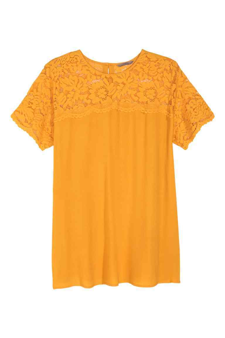 Short Sleeved Lace Blouse - pattern: plain; bust detail: sheer at bust; predominant colour: mustard; occasions: casual; length: standard; style: top; fibres: viscose/rayon - 100%; fit: body skimming; neckline: crew; sleeve length: short sleeve; sleeve style: standard; pattern type: fabric; texture group: jersey - stretchy/drapey; embellishment: lace; season: s/s 2016