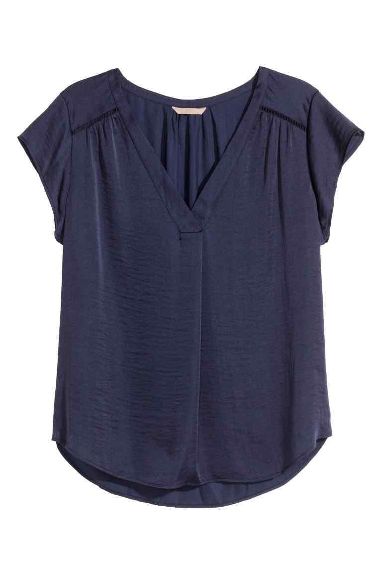 + Satin Blouse - neckline: v-neck; sleeve style: capped; pattern: plain; style: blouse; predominant colour: navy; occasions: casual; length: standard; fibres: polyester/polyamide - 100%; fit: body skimming; sleeve length: short sleeve; texture group: structured shiny - satin/tafetta/silk etc.; pattern type: fabric; season: s/s 2016; wardrobe: basic