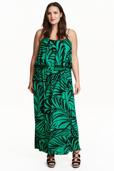 + Maxi Dress - sleeve style: spaghetti straps; style: maxi dress; length: ankle length; predominant colour: emerald green; secondary colour: black; occasions: casual, holiday; fit: body skimming; neckline: scoop; fibres: viscose/rayon - 100%; sleeve length: sleeveless; pattern type: fabric; pattern: florals; texture group: jersey - stretchy/drapey; multicoloured: multicoloured; season: s/s 2016; wardrobe: highlight