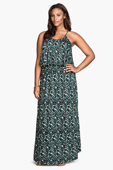 + Maxi Dress - neckline: round neck; sleeve style: spaghetti straps; style: maxi dress; secondary colour: white; predominant colour: teal; occasions: casual, holiday; length: floor length; fit: body skimming; fibres: viscose/rayon - 100%; sleeve length: sleeveless; pattern type: fabric; pattern: patterned/print; texture group: jersey - stretchy/drapey; multicoloured: multicoloured; season: s/s 2016; wardrobe: highlight