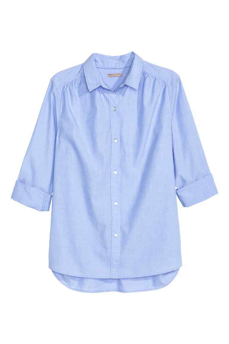 + Cotton Shirt - neckline: shirt collar/peter pan/zip with opening; pattern: plain; predominant colour: pale blue; occasions: casual, work; length: standard; style: top; fibres: cotton - 100%; fit: body skimming; sleeve length: 3/4 length; sleeve style: standard; texture group: cotton feel fabrics; pattern type: fabric; season: s/s 2016; wardrobe: highlight