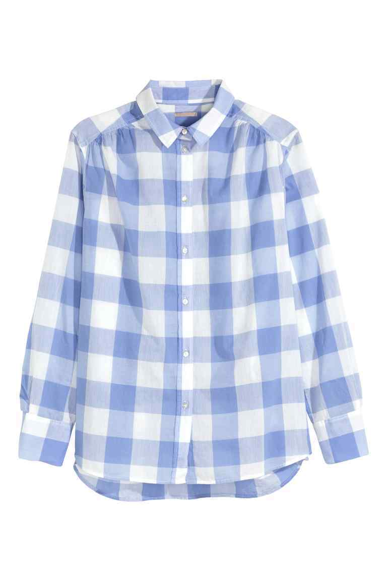 + Cotton Shirt - neckline: shirt collar/peter pan/zip with opening; pattern: checked/gingham; secondary colour: white; predominant colour: pale blue; occasions: casual; length: standard; style: top; fibres: cotton - 100%; fit: body skimming; sleeve length: long sleeve; sleeve style: standard; texture group: cotton feel fabrics; pattern type: fabric; multicoloured: multicoloured; season: s/s 2016; wardrobe: highlight