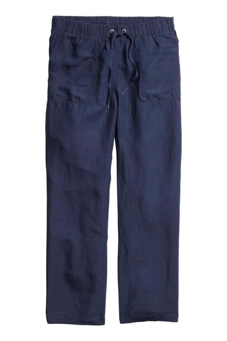 + Linen Blend Trousers - length: standard; pattern: plain; waist detail: belted waist/tie at waist/drawstring; waist: mid/regular rise; predominant colour: navy; occasions: casual; fibres: linen - mix; texture group: linen; fit: slim leg; pattern type: fabric; style: standard; season: s/s 2016; wardrobe: basic