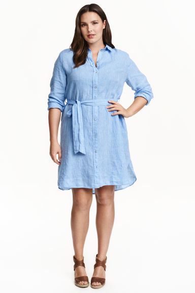+ Linen Shirt Dress - style: shirt; neckline: shirt collar/peter pan/zip with opening; pattern: plain; waist detail: belted waist/tie at waist/drawstring; predominant colour: pale blue; occasions: casual; length: just above the knee; fit: body skimming; fibres: linen - 100%; sleeve length: 3/4 length; sleeve style: standard; texture group: linen; pattern type: fabric; season: s/s 2016; wardrobe: highlight