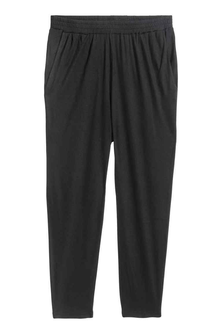 + Jersey Trousers - length: standard; pattern: plain; style: harem/slouch; waist: mid/regular rise; predominant colour: navy; occasions: casual; fibres: viscose/rayon - 100%; fit: tapered; pattern type: fabric; texture group: jersey - stretchy/drapey; season: s/s 2016; wardrobe: highlight