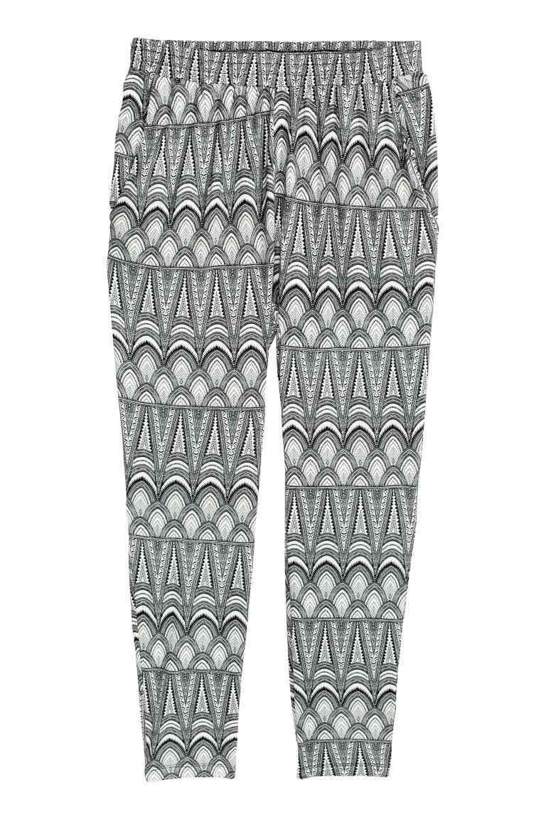 + Jersey Trousers - length: standard; style: harem/slouch; waist: mid/regular rise; secondary colour: white; predominant colour: mid grey; occasions: casual; fibres: viscose/rayon - 100%; fit: tapered; pattern type: fabric; pattern: patterned/print; texture group: jersey - stretchy/drapey; multicoloured: multicoloured; season: s/s 2016; wardrobe: highlight