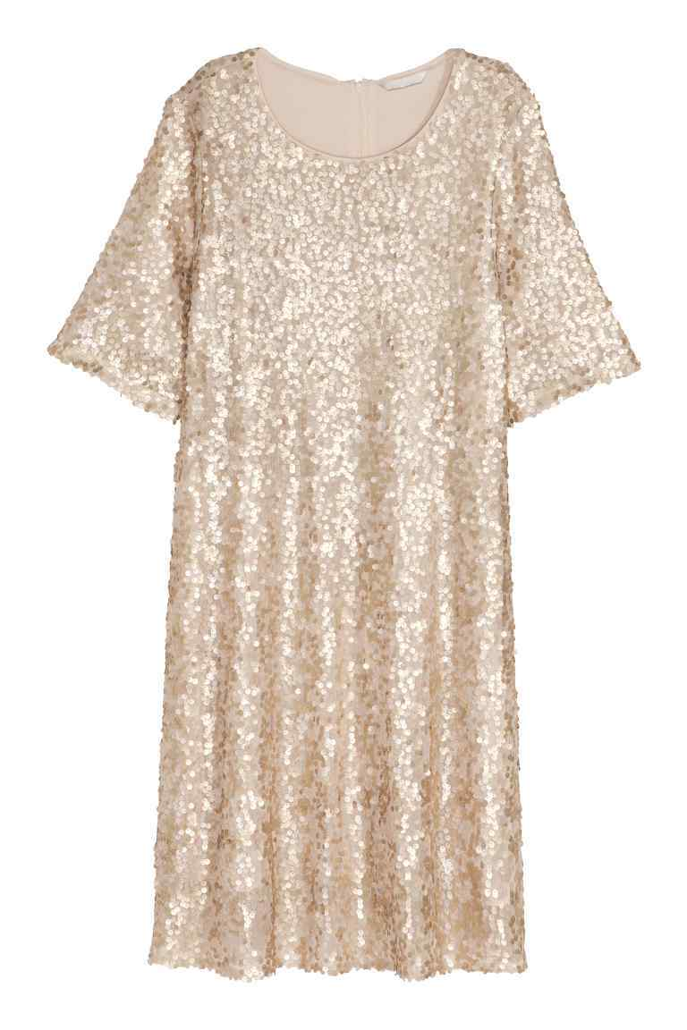 + Sequined Dress - style: shift; neckline: round neck; pattern: plain; predominant colour: gold; occasions: evening; length: just above the knee; fit: body skimming; fibres: polyester/polyamide - 100%; sleeve length: short sleeve; sleeve style: standard; pattern type: fabric; texture group: other - light to midweight; embellishment: sequins; season: s/s 2016; wardrobe: event
