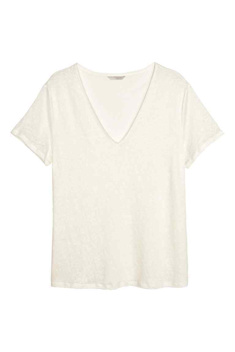 + Linen Top - neckline: v-neck; pattern: plain; predominant colour: white; occasions: casual; length: standard; style: top; fibres: linen - 100%; fit: body skimming; sleeve length: short sleeve; sleeve style: standard; texture group: linen; pattern type: fabric; season: s/s 2016; wardrobe: basic