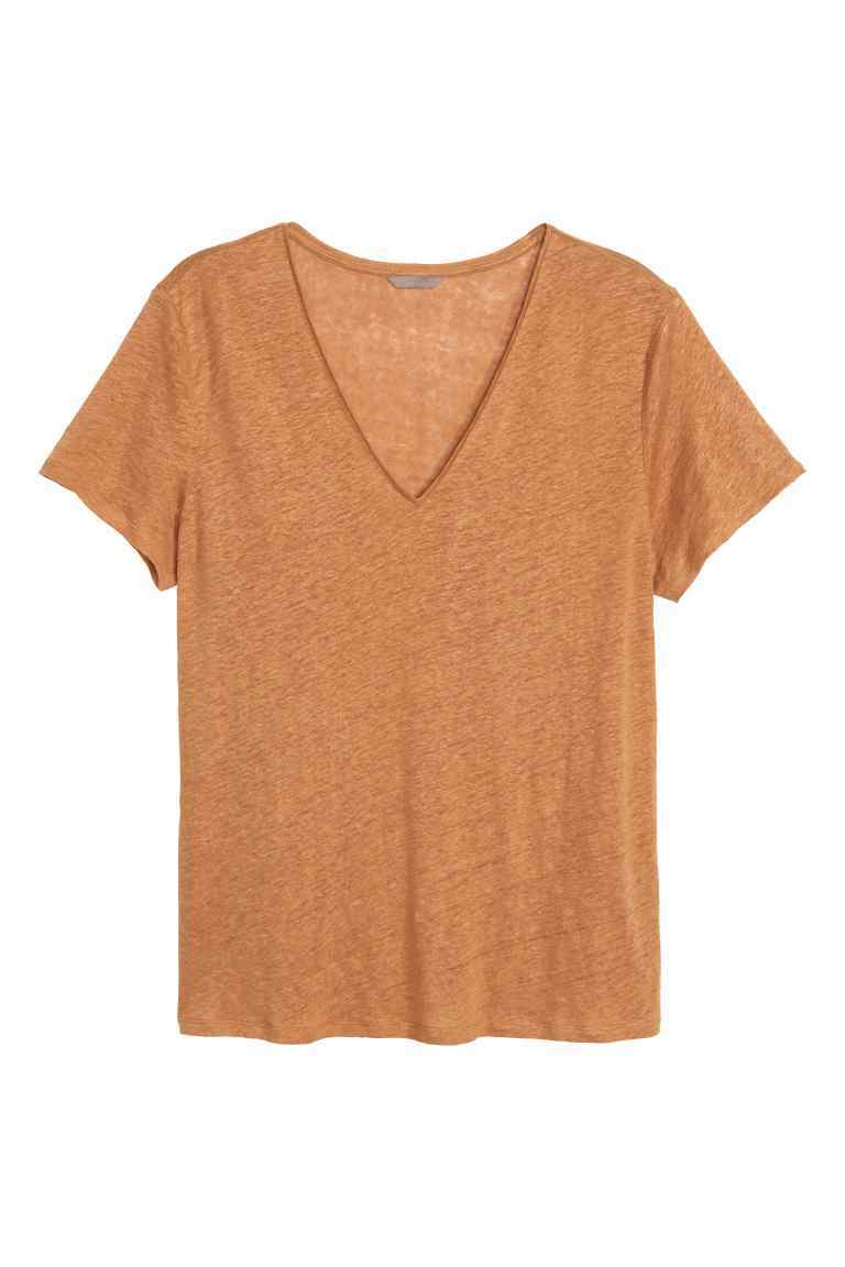 + Linen Top - neckline: v-neck; pattern: plain; predominant colour: camel; occasions: casual; length: standard; style: top; fibres: linen - 100%; fit: body skimming; sleeve length: short sleeve; sleeve style: standard; texture group: linen; pattern type: fabric; season: s/s 2016