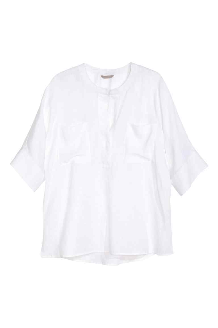 + Linen Shirt - pattern: plain; predominant colour: white; occasions: casual; length: standard; style: top; neckline: peep hole neckline; fibres: linen - 100%; fit: body skimming; sleeve length: half sleeve; sleeve style: standard; texture group: linen; pattern type: fabric; season: s/s 2016; wardrobe: basic