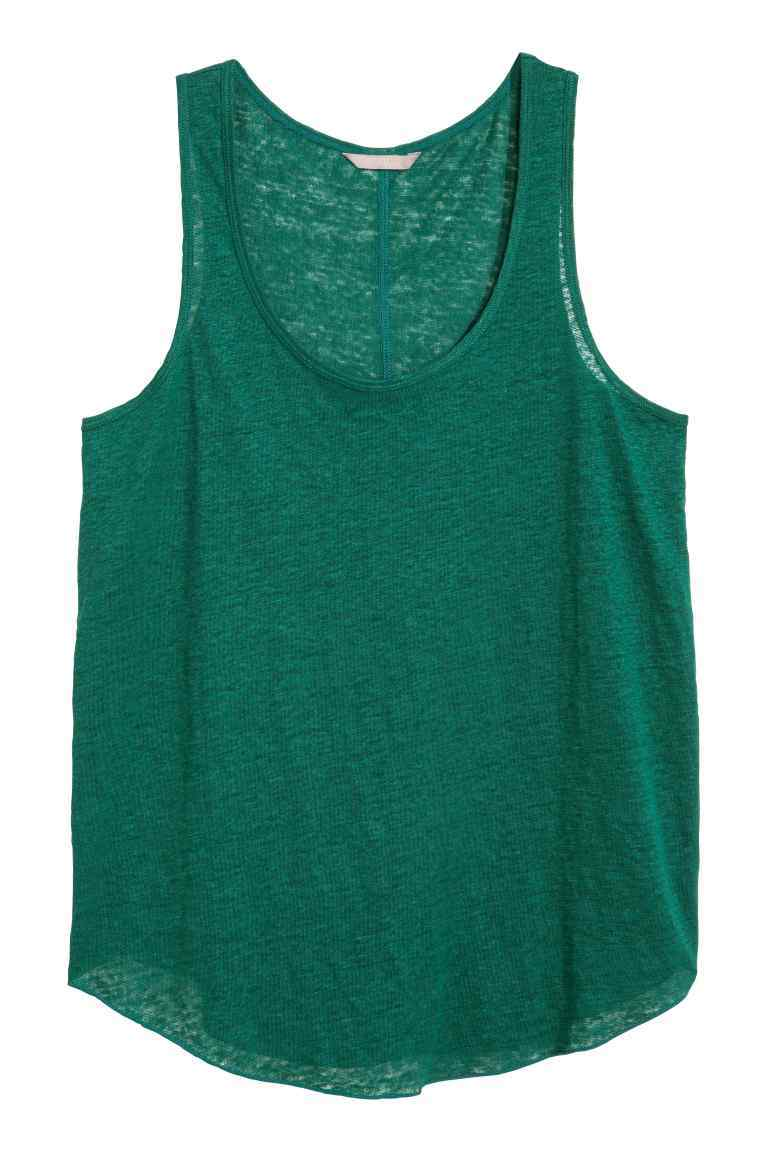+ Linen Vest Top - pattern: plain; sleeve style: sleeveless; style: vest top; predominant colour: dark green; occasions: casual; length: standard; neckline: scoop; fibres: linen - 100%; fit: body skimming; sleeve length: sleeveless; texture group: linen; pattern type: fabric; season: s/s 2016; wardrobe: highlight