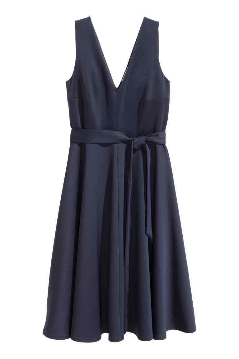+ Dress With A Tie Belt - style: shift; length: below the knee; neckline: v-neck; pattern: plain; sleeve style: sleeveless; waist detail: belted waist/tie at waist/drawstring; predominant colour: navy; occasions: evening; fit: body skimming; fibres: polyester/polyamide - stretch; sleeve length: sleeveless; pattern type: fabric; texture group: jersey - stretchy/drapey; season: s/s 2016; wardrobe: event