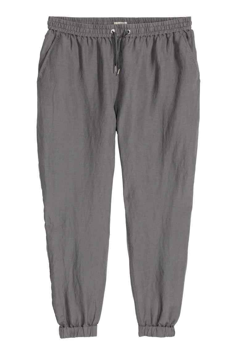 + Linen Blend Trousers - length: standard; pattern: plain; style: harem/slouch; waist detail: belted waist/tie at waist/drawstring; waist: mid/regular rise; predominant colour: mid grey; occasions: casual; fibres: linen - mix; texture group: linen; fit: tapered; pattern type: fabric; season: s/s 2016; wardrobe: highlight