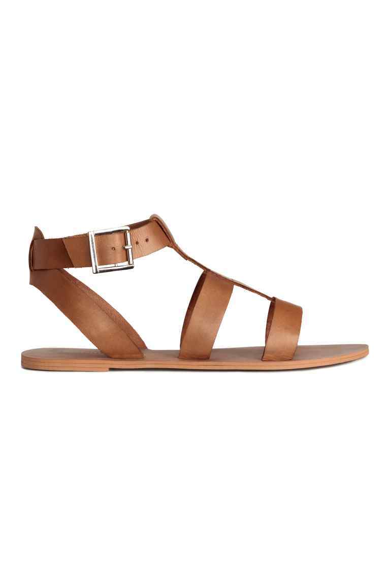Leather Sandals - predominant colour: tan; occasions: casual; material: leather; heel height: flat; ankle detail: ankle strap; heel: standard; toe: open toe/peeptoe; style: standard; finish: plain; pattern: plain; season: s/s 2016