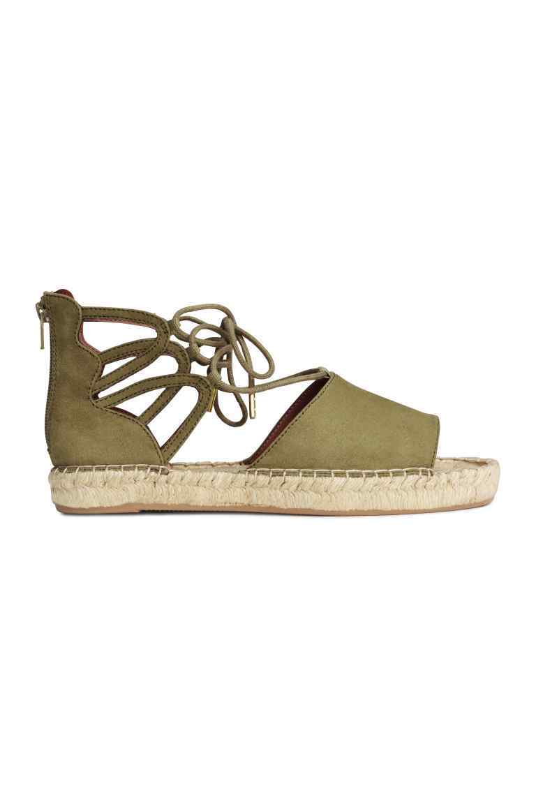 Espadrilles With Lacing - predominant colour: khaki; occasions: casual, holiday; material: fabric; heel height: flat; ankle detail: ankle tie; toe: open toe/peeptoe; finish: plain; pattern: plain; style: espadrilles; season: s/s 2016; wardrobe: highlight