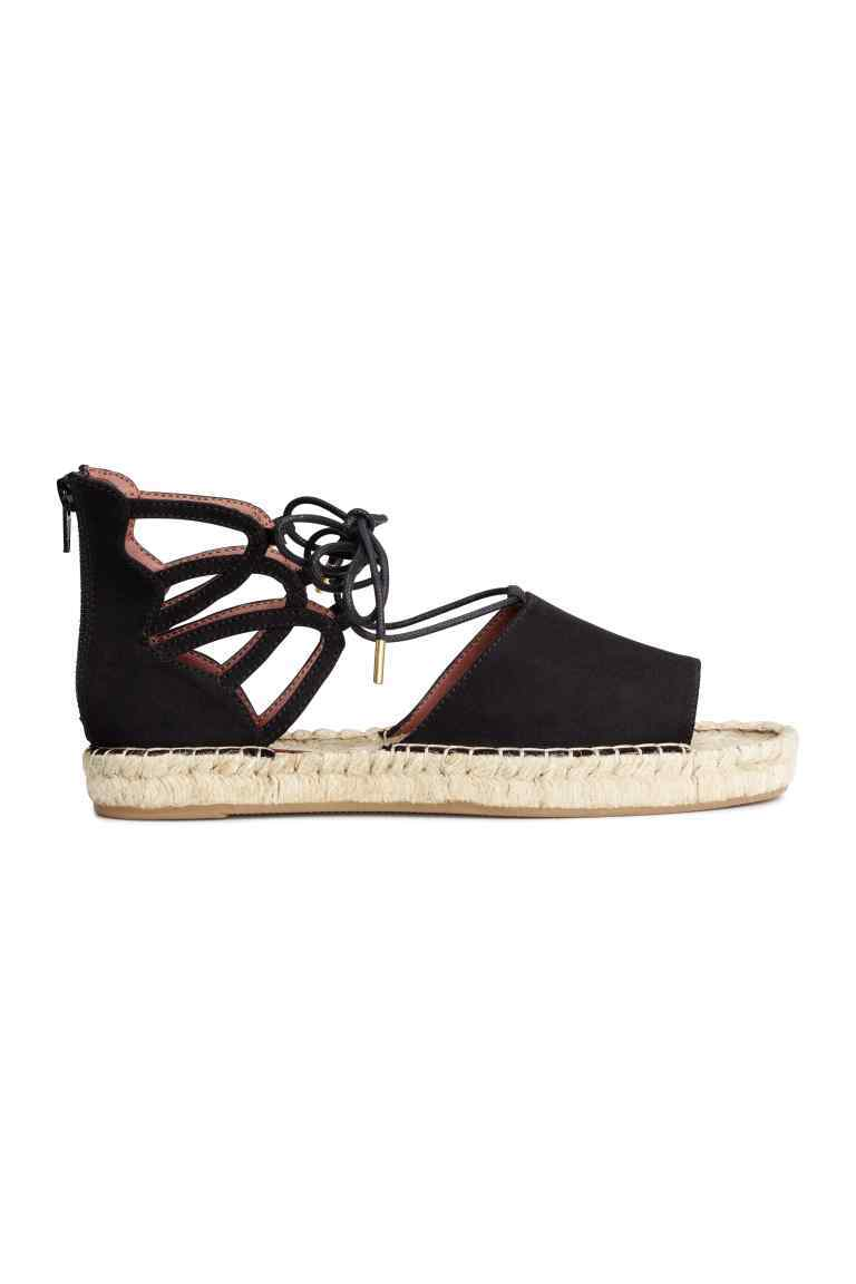 Espadrilles With Lacing - predominant colour: black; occasions: casual, holiday; material: fabric; heel height: flat; ankle detail: ankle tie; toe: open toe/peeptoe; finish: plain; pattern: plain; style: espadrilles; season: s/s 2016; wardrobe: highlight
