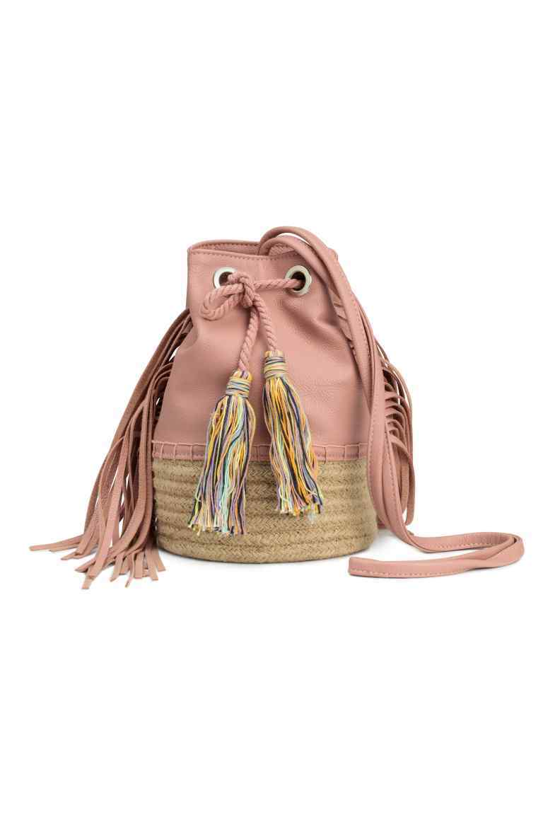 Bucket Bag With Fringes - predominant colour: pink; secondary colour: nude; occasions: casual; type of pattern: standard; style: onion bag; length: shoulder (tucks under arm); size: standard; material: faux leather; embellishment: tassels; pattern: plain; finish: plain; multicoloured: multicoloured; season: s/s 2016; wardrobe: highlight