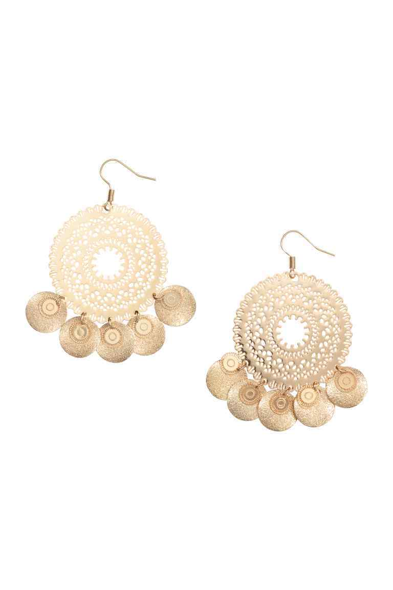 Round Earrings - predominant colour: gold; occasions: evening; style: drop; length: mid; size: standard; material: chain/metal; fastening: pierced; finish: metallic; embellishment: tassels; season: s/s 2016; wardrobe: event
