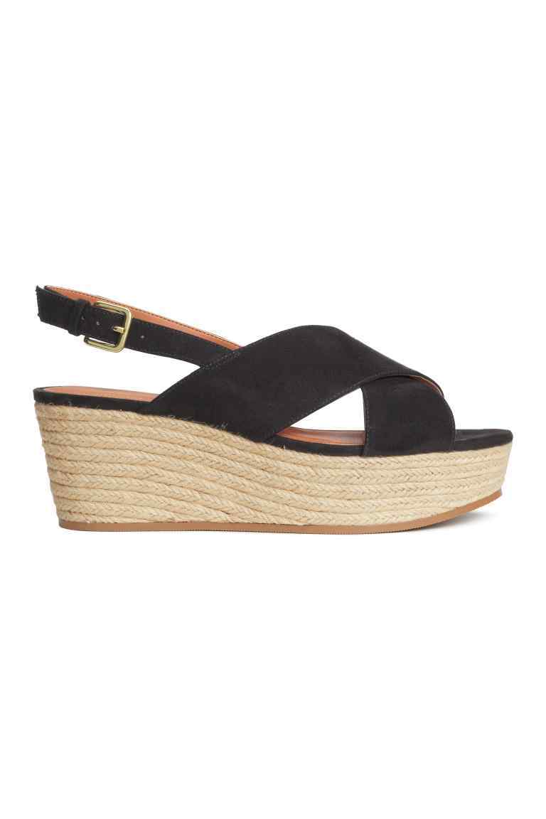 Wedge Heel Sandals - predominant colour: black; occasions: casual, holiday; material: fabric; heel height: high; heel: wedge; toe: open toe/peeptoe; style: standard; finish: plain; pattern: plain; shoe detail: platform; season: s/s 2016; wardrobe: investment