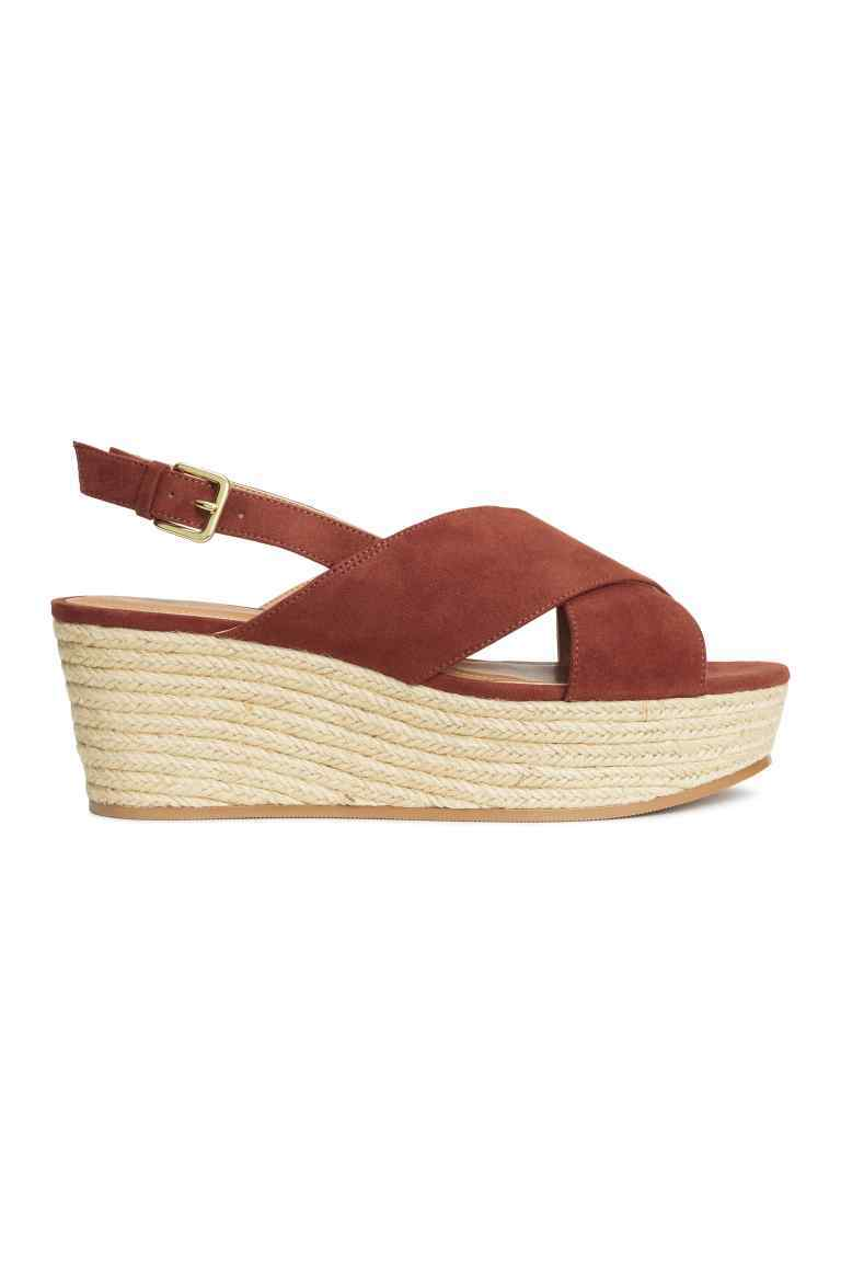 Wedge Heel Sandals - predominant colour: chocolate brown; occasions: casual, holiday; material: fabric; heel height: high; heel: wedge; toe: open toe/peeptoe; style: standard; finish: plain; pattern: plain; shoe detail: platform; season: s/s 2016; wardrobe: investment