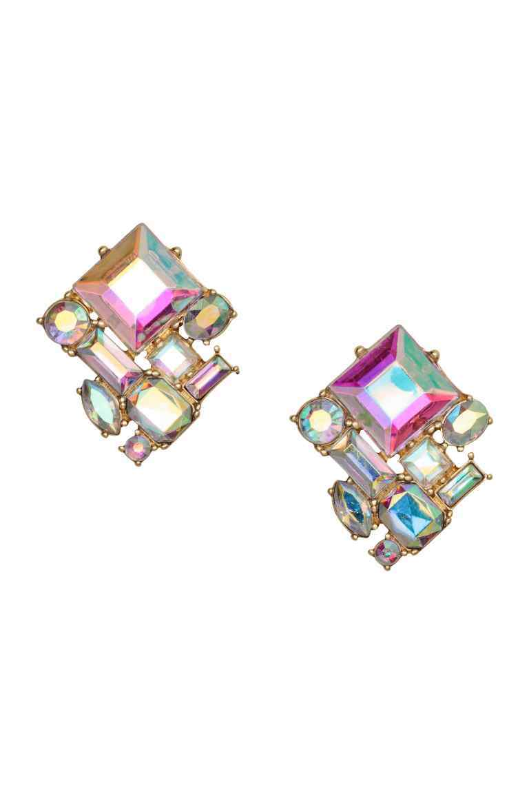 Faceted Earrings - secondary colour: hot pink; predominant colour: mint green; occasions: evening; style: stud; length: mid; size: small/fine; material: chain/metal; fastening: pierced; finish: metallic; embellishment: crystals/glass; multicoloured: multicoloured; season: s/s 2016