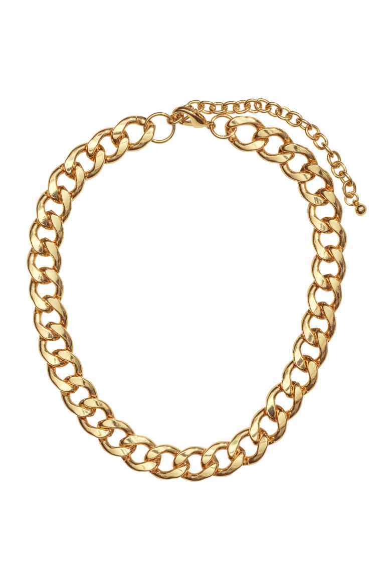 Metal Necklace - predominant colour: gold; occasions: casual; length: short; size: large/oversized; material: chain/metal; finish: metallic; season: s/s 2016; style: chain (no pendant)