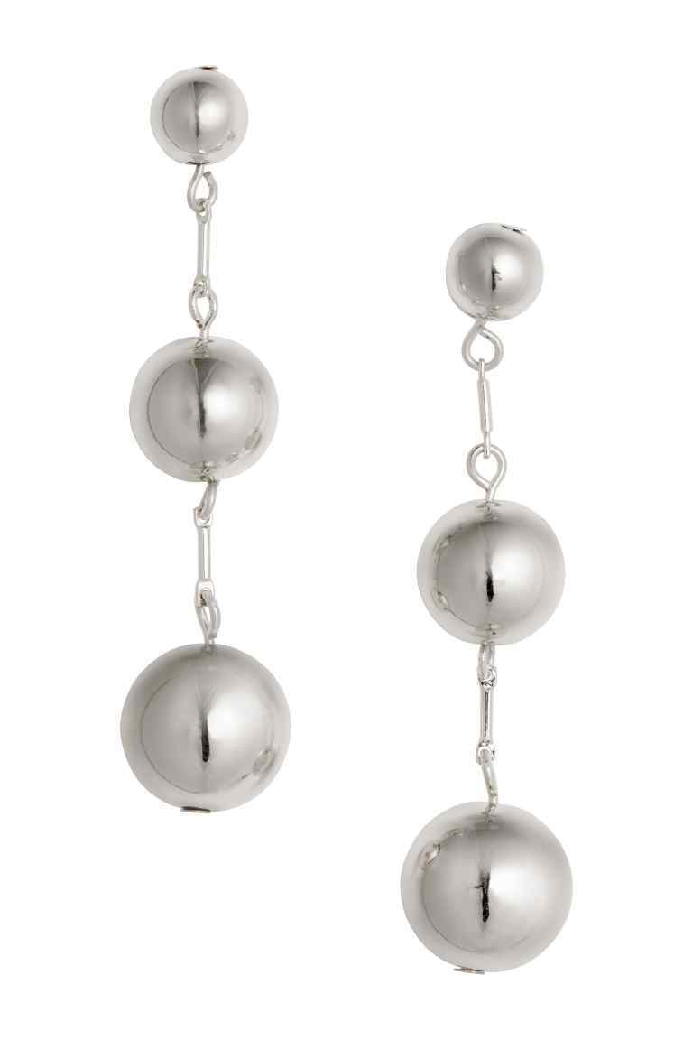 Earrings - predominant colour: silver; occasions: evening; style: drop; length: long; size: large/oversized; material: chain/metal; fastening: pierced; finish: metallic; season: s/s 2016