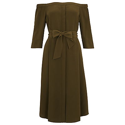 Flavia Bardot Silk Dress - style: shift; neckline: off the shoulder; fit: fitted at waist; pattern: plain; waist detail: belted waist/tie at waist/drawstring; predominant colour: khaki; length: just above the knee; fibres: silk - 100%; sleeve length: 3/4 length; sleeve style: standard; texture group: silky - light; pattern type: fabric; occasions: creative work; season: s/s 2016; wardrobe: highlight