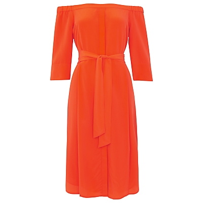 Flavia Bardot Silk Dress - style: shift; neckline: off the shoulder; fit: fitted at waist; pattern: plain; waist detail: belted waist/tie at waist/drawstring; predominant colour: bright orange; length: just above the knee; fibres: silk - 100%; sleeve length: 3/4 length; sleeve style: standard; texture group: silky - light; pattern type: fabric; occasions: creative work; season: s/s 2016; wardrobe: highlight