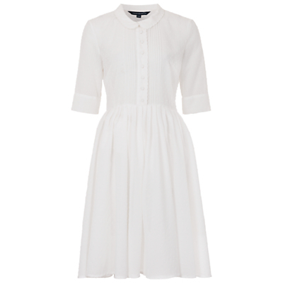 Dotty Flared Shirt Dress, Summer White - style: shirt; length: below the knee; neckline: shirt collar/peter pan/zip with opening; fit: fitted at waist; pattern: plain; predominant colour: white; occasions: casual, creative work; fibres: polyester/polyamide - 100%; hip detail: subtle/flattering hip detail; sleeve length: 3/4 length; sleeve style: standard; texture group: sheer fabrics/chiffon/organza etc.; pattern type: fabric; season: s/s 2016; wardrobe: basic