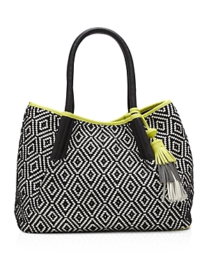 Harlo Tote - secondary colour: white; predominant colour: black; occasions: casual; type of pattern: heavy; style: tote; length: shoulder (tucks under arm); size: standard; material: fabric; embellishment: tassels; finish: plain; pattern: patterned/print; multicoloured: multicoloured; season: s/s 2016; wardrobe: highlight
