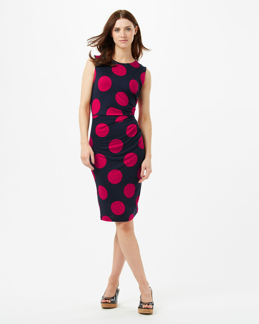 Anna Spot Dress - style: shift; fit: tight; sleeve style: sleeveless; pattern: polka dot; secondary colour: true red; predominant colour: navy; length: on the knee; fibres: viscose/rayon - stretch; occasions: occasion; neckline: crew; sleeve length: sleeveless; texture group: jersey - clingy; pattern type: fabric; pattern size: standard; season: s/s 2016; wardrobe: event