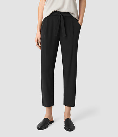 Palmer Silk Trousers - pattern: plain; style: peg leg; waist detail: belted waist/tie at waist/drawstring; waist: mid/regular rise; predominant colour: black; occasions: work, creative work; length: ankle length; fibres: silk - 100%; texture group: silky - light; fit: tapered; pattern type: fabric; season: s/s 2016; wardrobe: basic