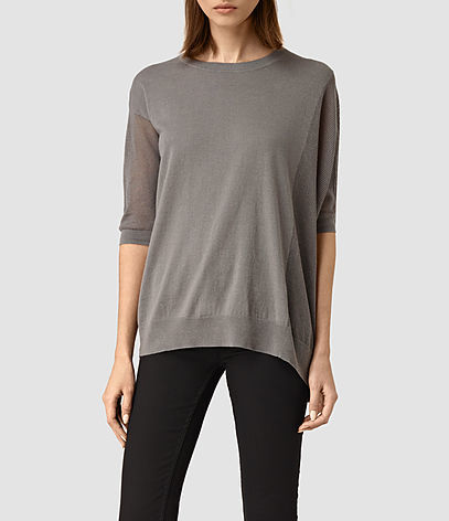 Cast Jumper - neckline: round neck; pattern: plain; style: standard; predominant colour: mid grey; occasions: casual, creative work; length: standard; fibres: linen - mix; fit: loose; sleeve length: half sleeve; sleeve style: standard; texture group: knits/crochet; pattern type: knitted - fine stitch; season: s/s 2016