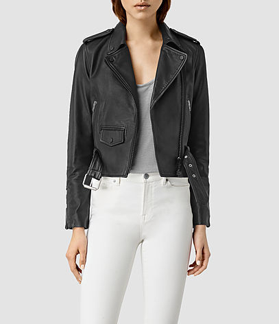 Baron Leather Biker Jacket - pattern: plain; style: biker; collar: asymmetric biker; fit: slim fit; hip detail: fitted at hip; predominant colour: black; occasions: casual; length: standard; fibres: leather - 100%; sleeve length: long sleeve; sleeve style: standard; texture group: leather; collar break: medium; pattern type: fabric; season: s/s 2016; wardrobe: basic