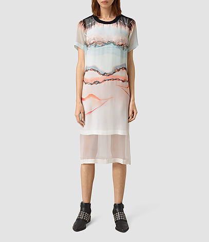 Kia Crystal Silk Dress - style: t-shirt; length: below the knee; predominant colour: ivory/cream; secondary colour: coral; occasions: casual, creative work; fit: straight cut; fibres: silk - 100%; neckline: crew; sleeve length: short sleeve; sleeve style: standard; texture group: sheer fabrics/chiffon/organza etc.; pattern type: fabric; pattern size: standard; pattern: patterned/print; multicoloured: multicoloured; season: s/s 2016; wardrobe: highlight
