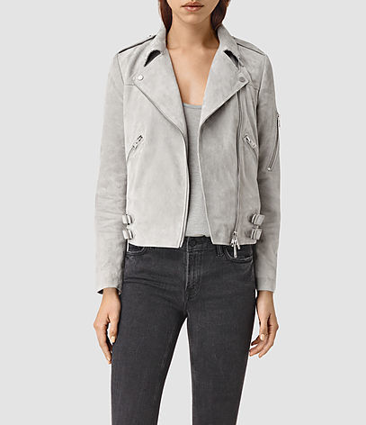 Latham Suede Biker Jacket - pattern: plain; style: biker; bust detail: added detail/embellishment at bust; collar: asymmetric biker; fit: slim fit; predominant colour: light grey; occasions: casual; length: standard; fibres: leather - 100%; sleeve length: long sleeve; sleeve style: standard; collar break: medium; pattern type: fabric; texture group: suede; season: s/s 2016; wardrobe: basic