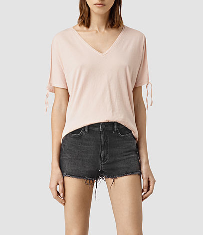 Kay Tee - neckline: v-neck; pattern: plain; style: t-shirt; predominant colour: blush; occasions: casual; length: standard; fibres: cotton - 100%; fit: body skimming; sleeve length: short sleeve; sleeve style: standard; pattern type: fabric; texture group: jersey - stretchy/drapey; season: s/s 2016; wardrobe: basic