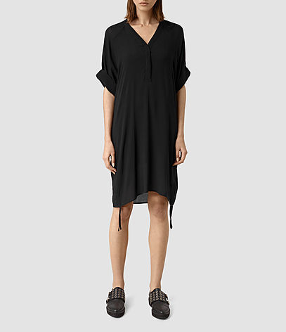 Isle Dress - style: tunic; neckline: v-neck; sleeve style: dolman/batwing; fit: loose; pattern: plain; predominant colour: black; length: just above the knee; fibres: polyester/polyamide - 100%; sleeve length: half sleeve; texture group: crepes; pattern type: fabric; occasions: creative work; season: s/s 2016; wardrobe: investment