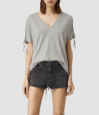 Kay Tee - neckline: low v-neck; pattern: plain; style: t-shirt; predominant colour: light grey; occasions: casual; length: standard; fibres: cotton - stretch; fit: body skimming; sleeve length: short sleeve; sleeve style: standard; pattern type: fabric; texture group: jersey - stretchy/drapey; season: s/s 2016; wardrobe: basic