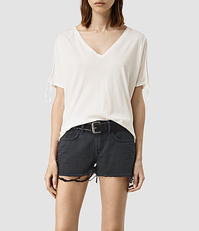 Kay Tee - neckline: low v-neck; pattern: plain; style: t-shirt; predominant colour: ivory/cream; occasions: casual; length: standard; fibres: cotton - 100%; fit: body skimming; sleeve length: short sleeve; sleeve style: standard; pattern type: fabric; texture group: jersey - stretchy/drapey; season: s/s 2016; wardrobe: basic
