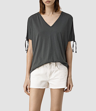 Kay Tee - neckline: v-neck; pattern: plain; style: t-shirt; predominant colour: charcoal; occasions: casual; length: standard; fibres: cotton - stretch; fit: body skimming; sleeve length: short sleeve; sleeve style: standard; pattern type: fabric; texture group: jersey - stretchy/drapey; season: s/s 2016; wardrobe: basic