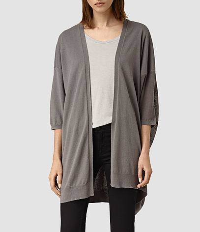 Cast Cardigan - pattern: plain; length: below the bottom; neckline: collarless open; style: open front; predominant colour: mid grey; occasions: casual, creative work; fibres: linen - mix; fit: loose; sleeve length: 3/4 length; sleeve style: standard; texture group: knits/crochet; pattern type: knitted - fine stitch; season: s/s 2016; wardrobe: basic